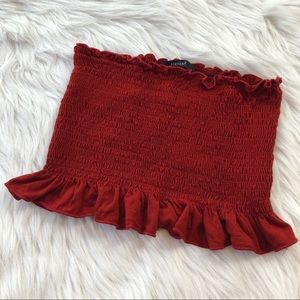 F21 Red Smocked Tube Top